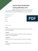 Cuántos Idiomas Tiene Guatemala