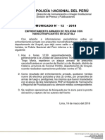 COMUNICADO PNP N° 12- 2018