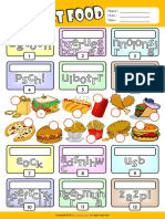 Fast Food Esl Vocabulary Unscramble the Words Worksheet for Kids