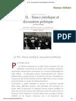 Le TSL _ Fiasco Juridique Et Accusation Politique, Par Pierre Khalaf