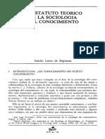 El estatuto teórico de la Sociología del Conocimiento - Lamo de Espinosa