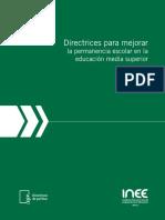 Directrices para mejorar la permanencia escolar en la educación media superior INEE
