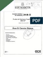 Examen de Admision UNMSM 2018 - II (Área B)