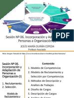 Sesión Nº 06. Incorporación y Adaptación de Personas a Organización (I)