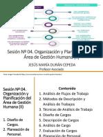 Sesión Nº 04. Organización y Planificación Del Área de Gestión Humana (II)
