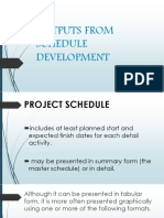 Outputs From Schedule Development