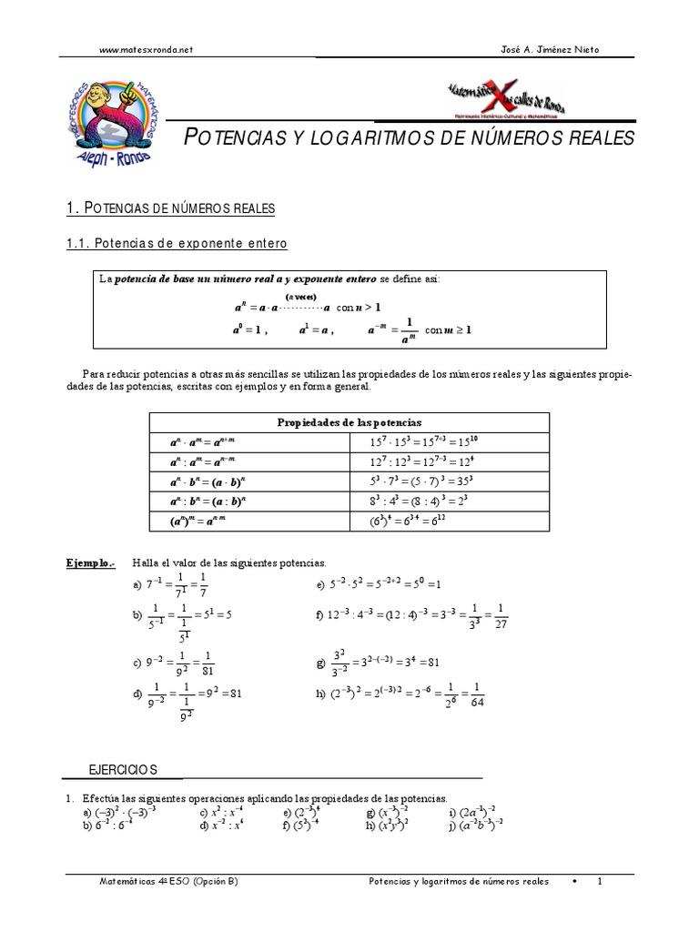 Fantástico Propiedades De Los Exponentes Hoja Pdf Friso - hojas de ...