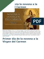 Hoy Se Inicia La Novena a La Virgen Del Carmen