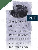 Baroque Music Style & Performance (de Donington)