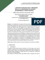 4. MASTER .Acerca Del Master en Arquitectura y Urbanismo Sostenibles de La Universidad de Alicante Posicionamiento y Oferta Docente