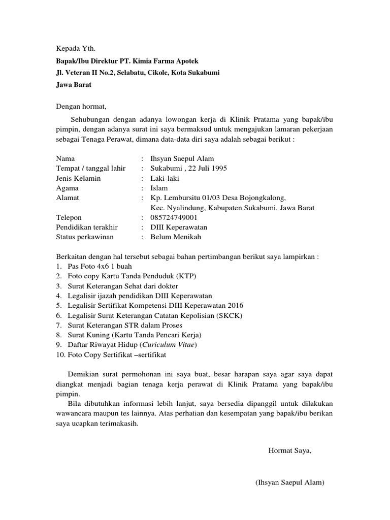 Contoh Surat Lamaran Kerja Perawat Di Puskesmas Pdf Contoh Lif Co Id