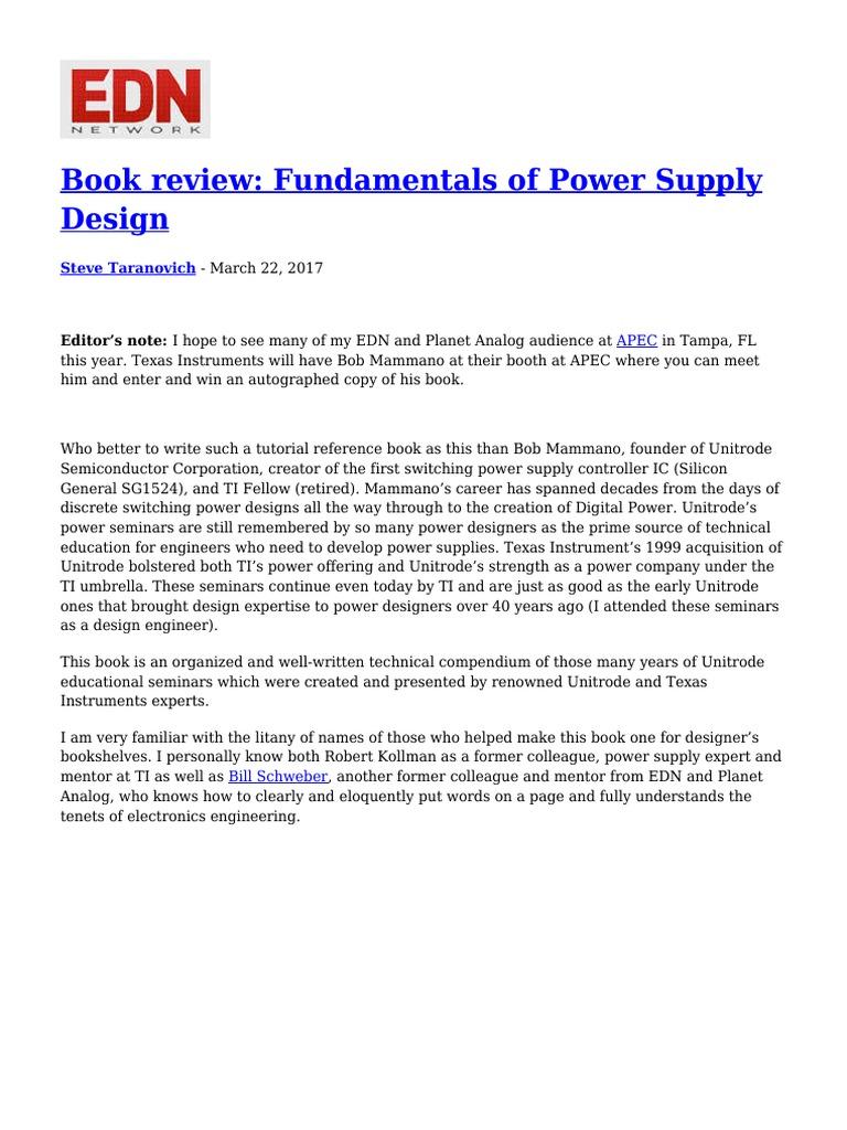 Book Review Fundamentals of Power Supply Design | Power