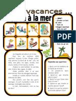7 Ces Vacances on Va a La Mer 3 Comprehension Orale 27024
