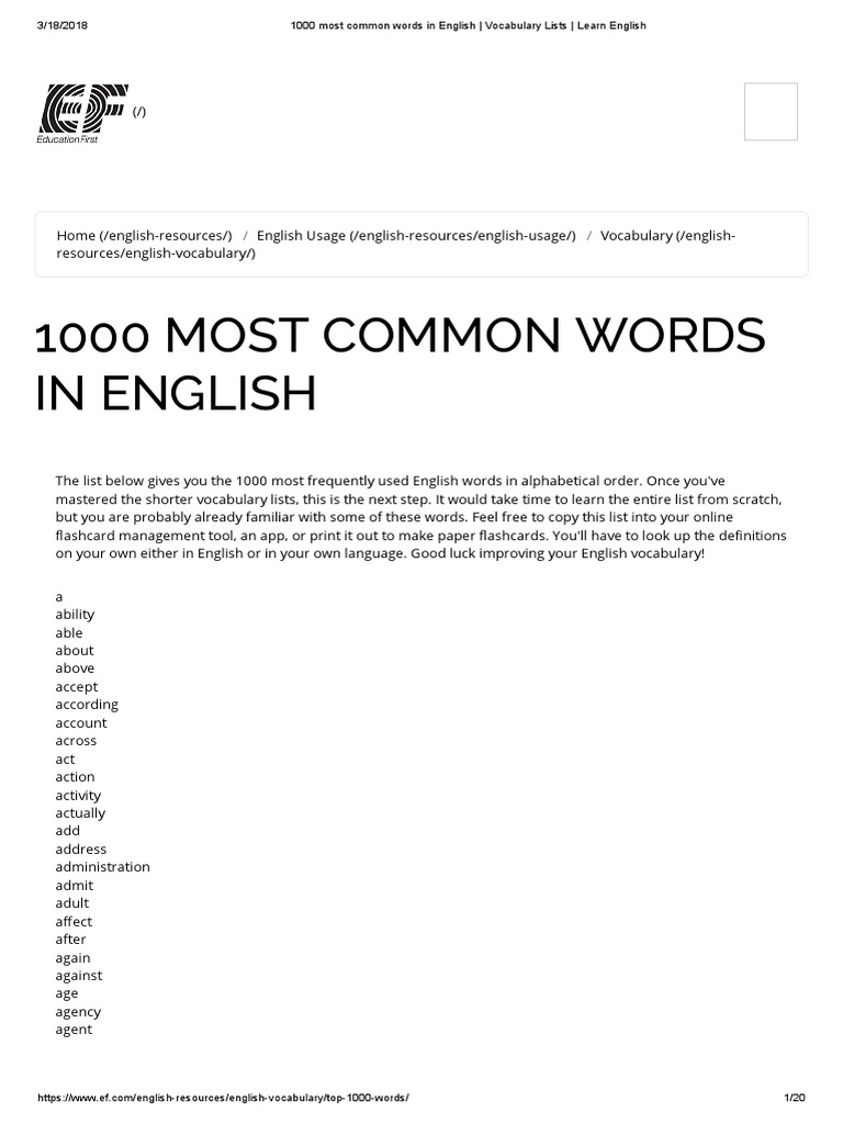 1000 Most Common Words in English _ Vocabulary Lists _ Learn