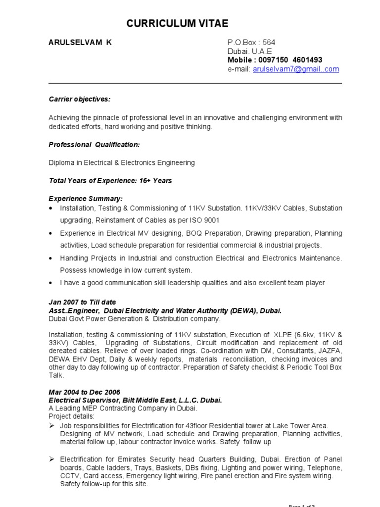 Cv of Arul Asghal | Electrical Substation | Electrical Wiring