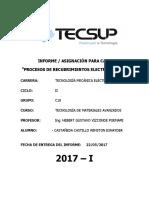 Informe de Los Procesos de Recubrimientos Electrolíticos