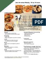 Menu de La Cuisine de Meme Moniq 10 Au 16 Mars