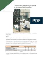 Clasificación de Los Aceites Dieléctricos y Su Aptitud Para El Servicio en Transformadores