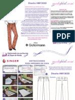 Instrucciones de Costura de Los Moldes de Pantalon Dockers Classic Fit 2 Pliegues Hm1303d