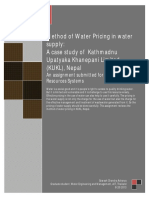 Water pricing in water supply
