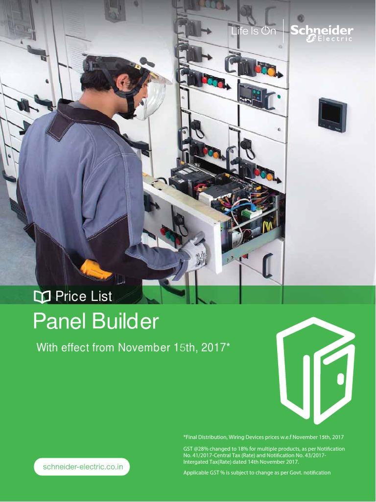 Schneider electrical Panel Builder Nov 17 price list Relay Switch