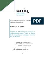 Propuesta didáctica para trabajar la competencia digital ética a través de la creación de contenido libre en TIC de 4º ESO