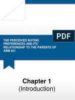 The Perceived Buying Preferences and Its Relationship to the Parents of ABM 401