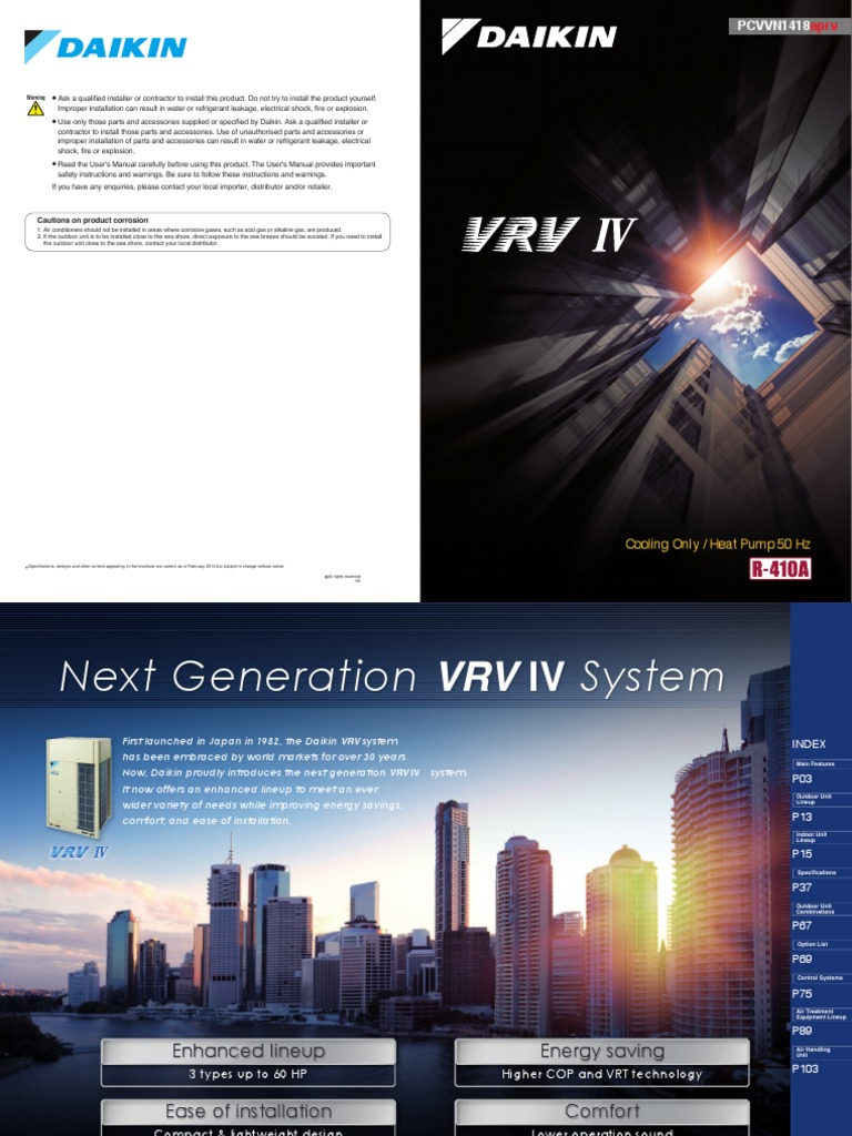 Daikin Vrv IV Catalogue Updated | Hvac | Air Conditioning