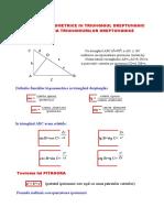 Relatii Trigonometrice in Triunghiul Dreptunghic