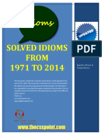 Solved Idioms From 1971 to 2014 - Updated