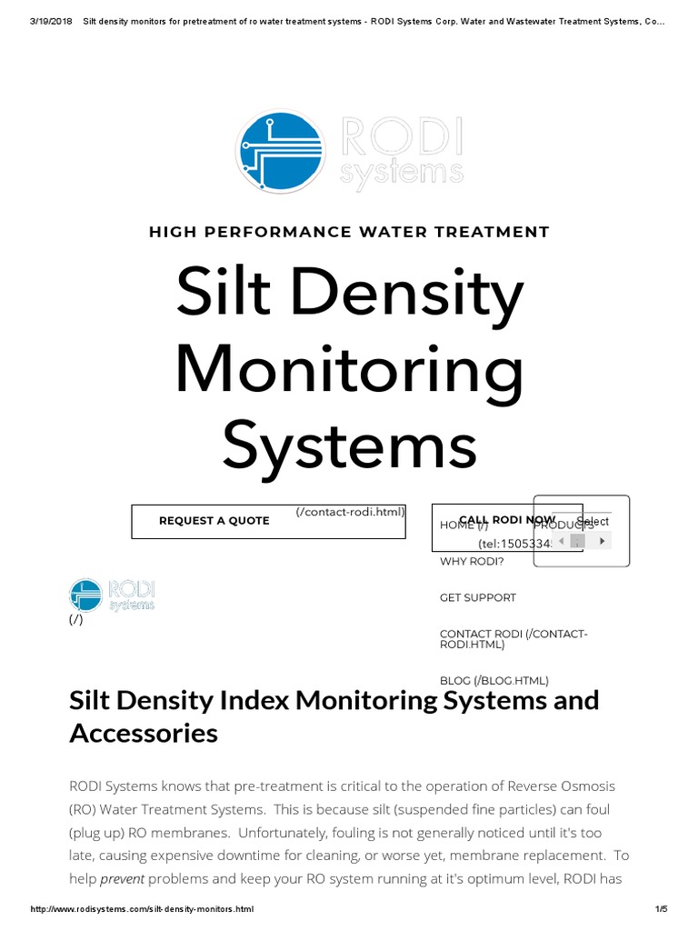 Silt Density Monitors for Pretreatment of Ro Water Treatment
