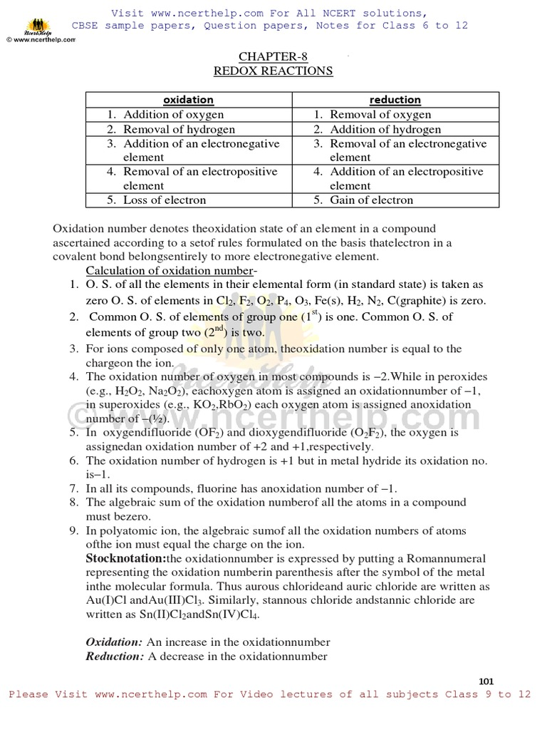 NCERT Solutions for Class 11 Chemistry Chapter 8 Redox Reactions