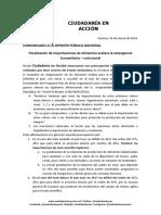 Ciudadanía en Acción Alerta Consecuencias de Paralización de Importaciones de Alimentos.