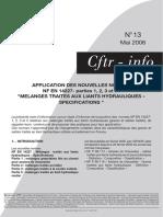 Note Cftr-13_Application Des Normes NF en 14227 (1, 2, 3 Et 5)_mélanges Traites Aux Liants Hydrauliques-spécifications (2006)