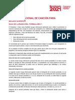 Guia de Llenado Del Formulario General Del Concurso Nacional de La Cancion