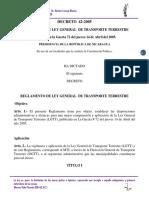 Decreto 42-2005 Reglamento de Ley General de Transporte Terrestre.