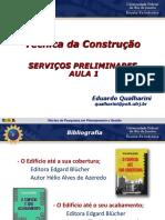 1ª Aula - Serviços Preliminares e Canteiro de Obras