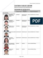 CONVOCATORIA N° 008-2017-SN/CNM | CRONOGRAMA DE ENTREVISTAS