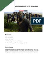 Black Panther Full Movie HD Hindi Download