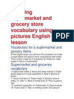 Learning Supermarket and Grocery Store Vocabulary Using Pictures English Lesson