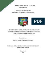 Inventario y Estrategias de Mejora de Los Pastizales de Los Sistemas de Producción de Alpacas en La Sierra Central