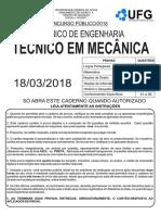 2018 UFG-SANEAGO Engenharia Técnico Mecanico PROVA