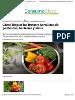 Cómo limpiar las frutas y hortalizas de pesticidas, bacterias y virus