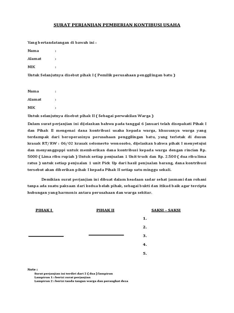 Surat Perjanjian Bagi Hasil Usaha