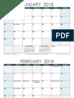 2018 Monthly Calendar Ocean Landscape