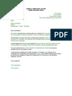 Sample Complaint Letter Home Building