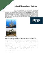7 Propinsi Penghasil Minyak Bumi Terbesar Di Indonesia