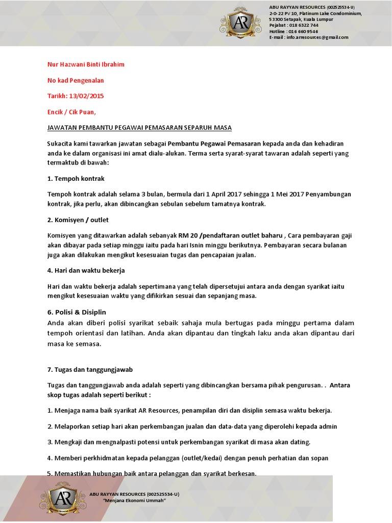 24 Surat Tawaran Kerja Kontrak Part Time
