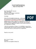 For SEC TESDA Re-registration