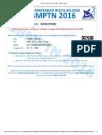 Slip Pembayaran Biaya Seleksi SBMPTN 2015